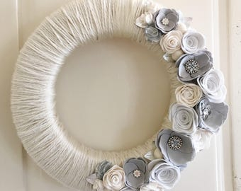 Grey, White and Cream felt flower yarn wrapped large wreath