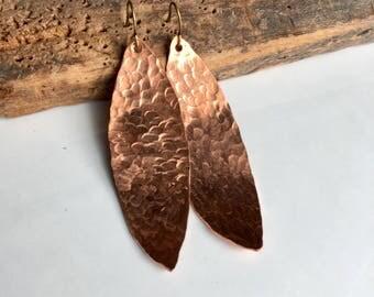 Hammered Earrings, Copper Leaf earrings, Copper Earrings, Hammered Leaf Earrings, Dangle Earrings, Big Earrings, Etsy, Etsy Jewelry