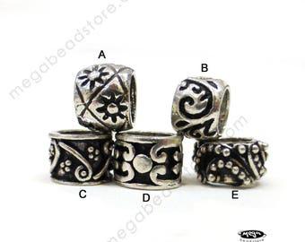 6 pcs Patina Sterling Silver Beads Large Hole Fit 3mm European Bracelet B159Mix