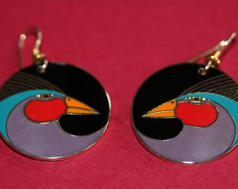 VINTAGE Laurel Burch HARLEQUIN BIRD dangle earrings