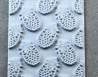 ALOHA  Pineapple  Rubber Texture Tile Mat Stamp for Clay inks Paint Soap   TTL328