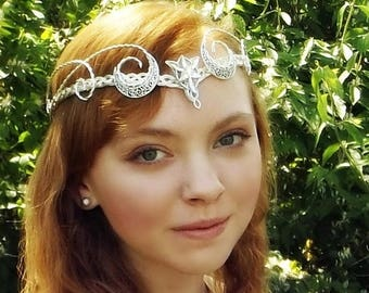ON SALE Crescent Moon Evenstar Tiara Circlet Crown