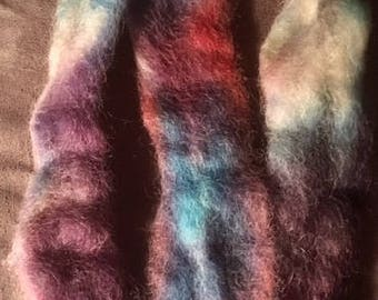 Hand painted wool roving green, blue, purple, red, cream, 1/2oz Spinning, felting