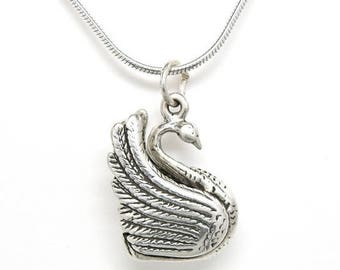 SALE Swan Sterling Silver Bird Pendant Charm Customize no. 1901