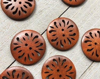 "Carved Wooden Buttons - THREE 30mm - 1 1/8"" Medium Brown Wood Sewing Buttons - Fancy Wooden Buttons, Craft Buttons, Knitting Supplies (B141)"