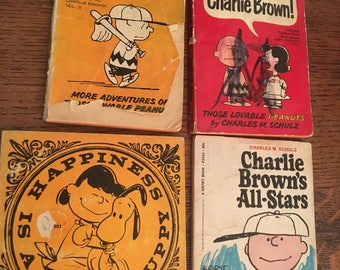 Vintage Peanuts Book Lot 6 1960s Warm Puppy epsteam Early Snoopy