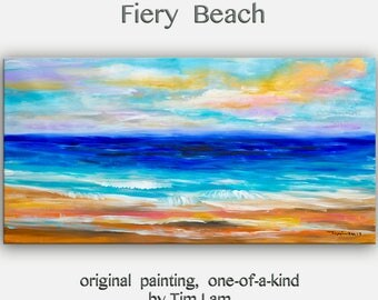 Sale Original Oil Painting Morning Wave seascape art on gallery wrap canvas by tim Lam 48x24