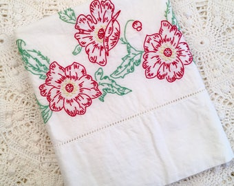 Vintage Embroidery Pillow Case - Red Yellow Flowers with Green Vine - Hemstitching - All Cotton - Country Farmhouse Cottage Pillowcase
