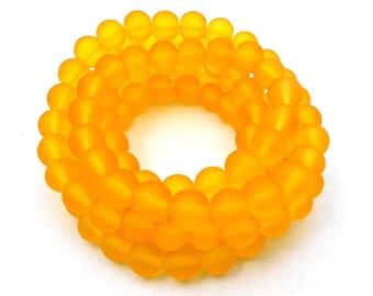 50 Golden Yellow Matte Sea Glass Beads 8mm frosted beach glass round light yellow-orange (H5025)