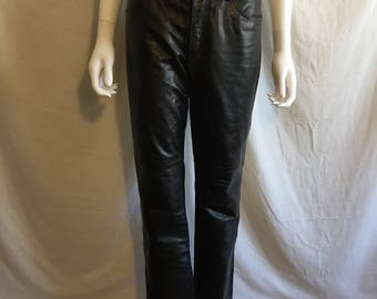 """1990s Gap Leather Pants, Boot Cut Size 4, Mid Rise, Genuine Leather, Motorcycle Pants, 29"""" Waist"""