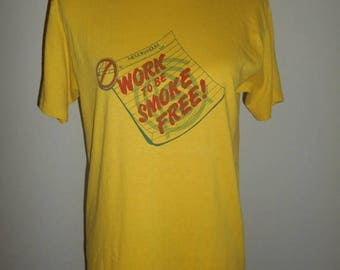 Closing Shop 40%off SALE Vintage 80s 1989   Work to be smoke free  Stop Smoking Cigarettes    yellow    health education