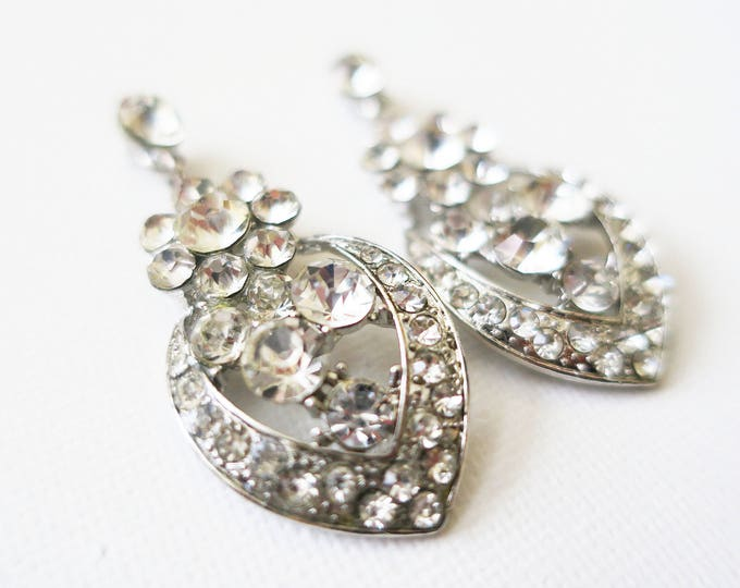 Rhinestone Drop Earrings Vintage
