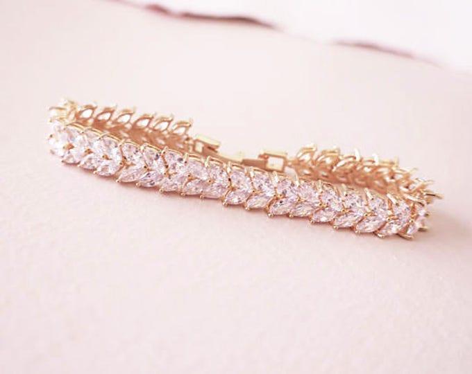 Rose Gold Bridal Bracelet Crystal KARENA