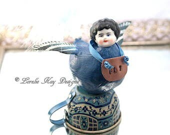 Fly Blue Bird Art Doll Nature Theme Tiny Bird Doll OOAK Sculpted Assemblage Doll Lorelie Kay Designs