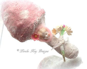 Pink Mushroom Spun Cotton Ornament  Feather Tree Ornie Vintage Inspired Blonde Frozen Charlotte China Doll Decoration Lorelie Kay Designs