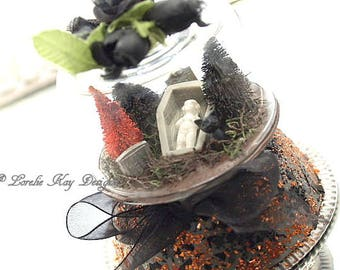 Frozen Charlotte Doll Graveyard Halloween Diorama Cloche Dome Decoration Doll Mixed Cemetery Scene Lorelie Kay Original