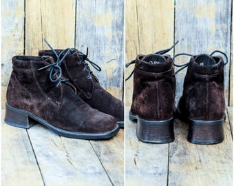 Suede Ankle Boots, Vintage chukka boots, size Us 5, Uk 3, Eu 36, Brown Chukka Boots, MADE in ITALY, Suede Lace Boots, Brown Lace Boots,