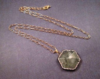 Prehnite Gemstone Necklace, Green Hexagon Pendant Necklace, Pave Rhinestone and Gold Chain Necklace, FREE Shipping U.S.
