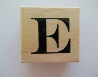 Letter E Rubber Stamp - Bamboo Breeze Collection - Wood Mounted Rubber Stamp - Alphabet Letter E Stamp