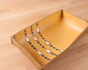Valet Tray - Leather in the Rain Pattern with modern raindrops in white, blue and antique tan - Jewelry or Bedside Tray