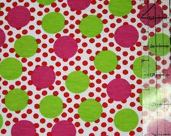 Sale Lime green and Hot pink Dots on White polkadots Cotton Lycra Knit Fabric 1 yard plus