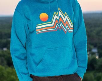 Mountain Range - Hand-Printed Hooded Sweatshirt
