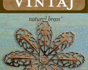 Passion Flower Petal Filigree 45mm, Vintaj Natural Brass, 1 Piece (F400)
