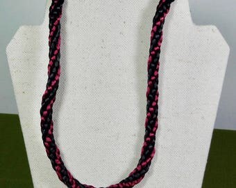 Black and Burgundy 32 inch Long Kumihimo Necklace