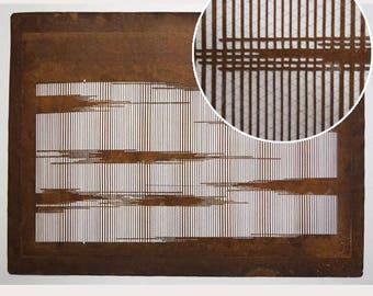 "Vintage Japanese Katagami Stencil Persimmon Paper ""Subtle Fog"""