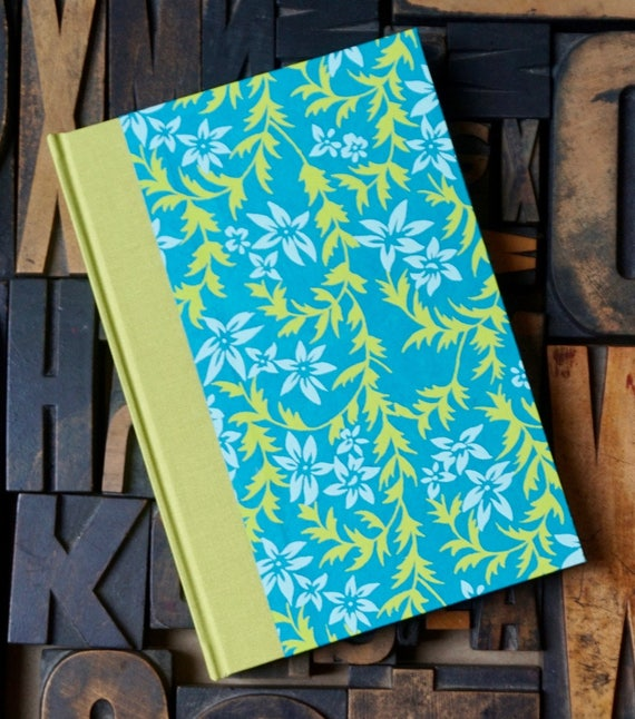 Journal, Small Lined, with Teal and Lime Green Floral Pattern