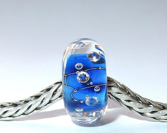 Luccicare Lampwork Bead - Ocean Diamonds - Lined with Sterling Silver