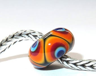 Luccicare Lampwork Bead - Rainbow II -  Lined with Sterling Silver