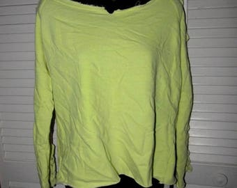 snip snip its my birthday yellow beach sliced long sleeve thin sweatshirt cut up crochet woven deconstructed pullover size large l