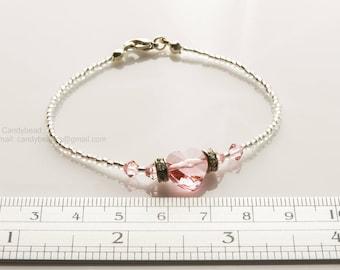 Swarovski Bracelet; Crystal Bracelet; Glass Bracelet; Light Rose Swarovski heart crystal bracelet by CandyBead