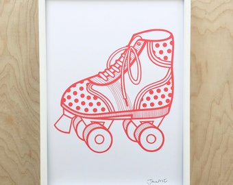 A4 Scandi Retro Roller Skate screen print by Jane Foster  -  hand printed roller skates  - red