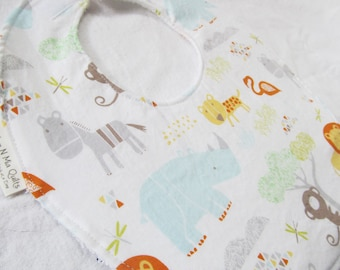 Neutral Baby Boy or Girl Bib - Jungle Babies - Boutique Bib in Designer Cotton Fabric