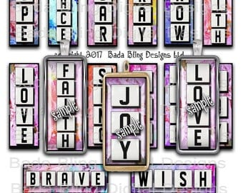 1 x 3 inch,  Happy Words, microscope slide digital collage sheets,  INSTANT Download at Checkout, ,slide pendants.word pendants
