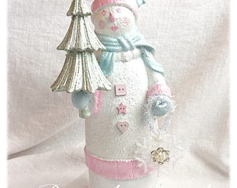 SNOWMAN Shabby Chic Pink Christmas Figurine ECS sct schteam SVFTeam