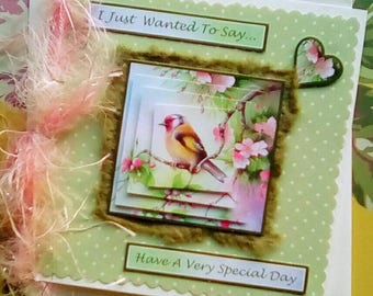 Bird Birthday Greetings Card, ..just wanted to say have a very special day