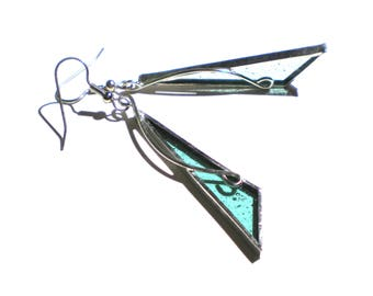 Spearmint Points - Stained Glass Earrings - Long Green Triangle Womens Accessories Lightweight Jewelry Nickel-Free Hooks (READY TO SHIP)