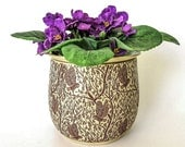 African Violet Pot - Self Watering Planter - Owls - Hand Thrown Stoneware Pottery