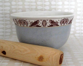 Ceramic Mixing Bowl  - Ceramic Bowl - Owl - 32 oz - Large Bowl - Ready to Ship - Hand Thrown Stoneware Bowl