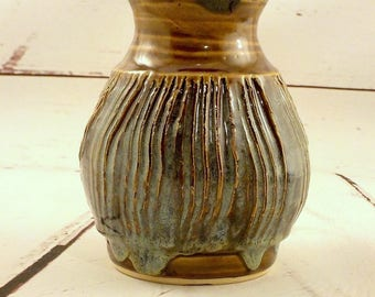 Stoneware Vase - Ceramic Flower Container - Rustic Bouquet Holder - Iron Brown / Jade Green - Centerpiece - Ready to Ship - Gift Item  v635