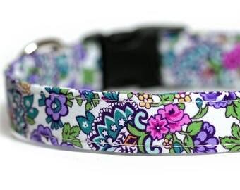 Engraved Floral Dog Collar opiton, Flower dog collar, Purple Dog Collar, flowerista