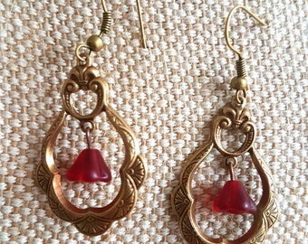 Art nouveau earrings / choice of 2 colours/ red or blue Czech glass beads / antique gold tone metal / 2 inch long earrings
