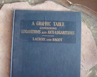 Vintage 1925 Math Science Book A Graphic Table Combining Logarithms & Anti-Logarithims LaCroix and Ragot
