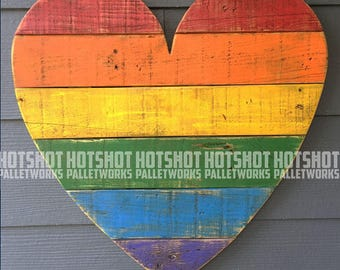 Heart, Love, Pride, Rainbow, LGBTQ, Vintage-looking Pallet wood hand made, hand painted sign, #4