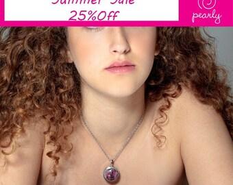 UNIQUE Necklace - Lampwork Jewelry - Glass Bead Jewelry -Interchangeable Necklace - Modern Jewelry - 317L Stainless Steel