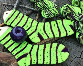 """hand dyed self striping sock yarn - """"Poison Apple"""" - great for Halloween!"""