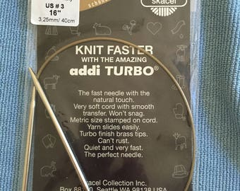 "US size 3, 16"" Addi Turbo circular knitting needle"
